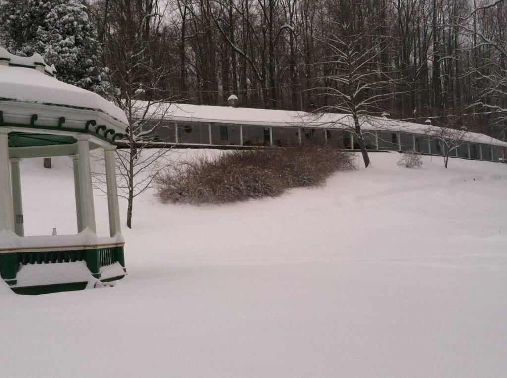 Gazebo with winter snow
